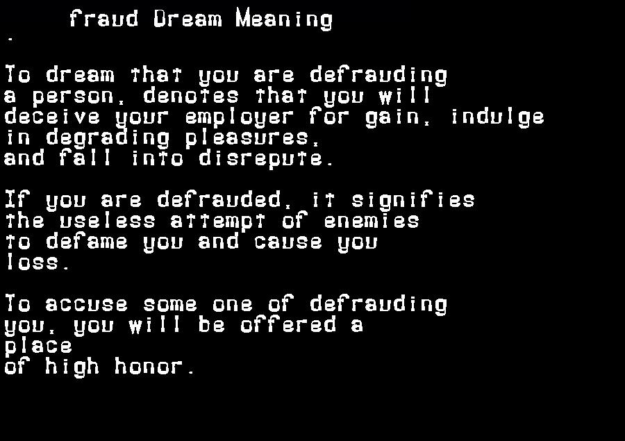 dream meanings fraud