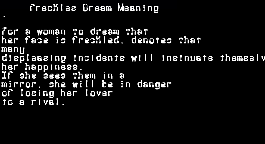 dream meanings freckles