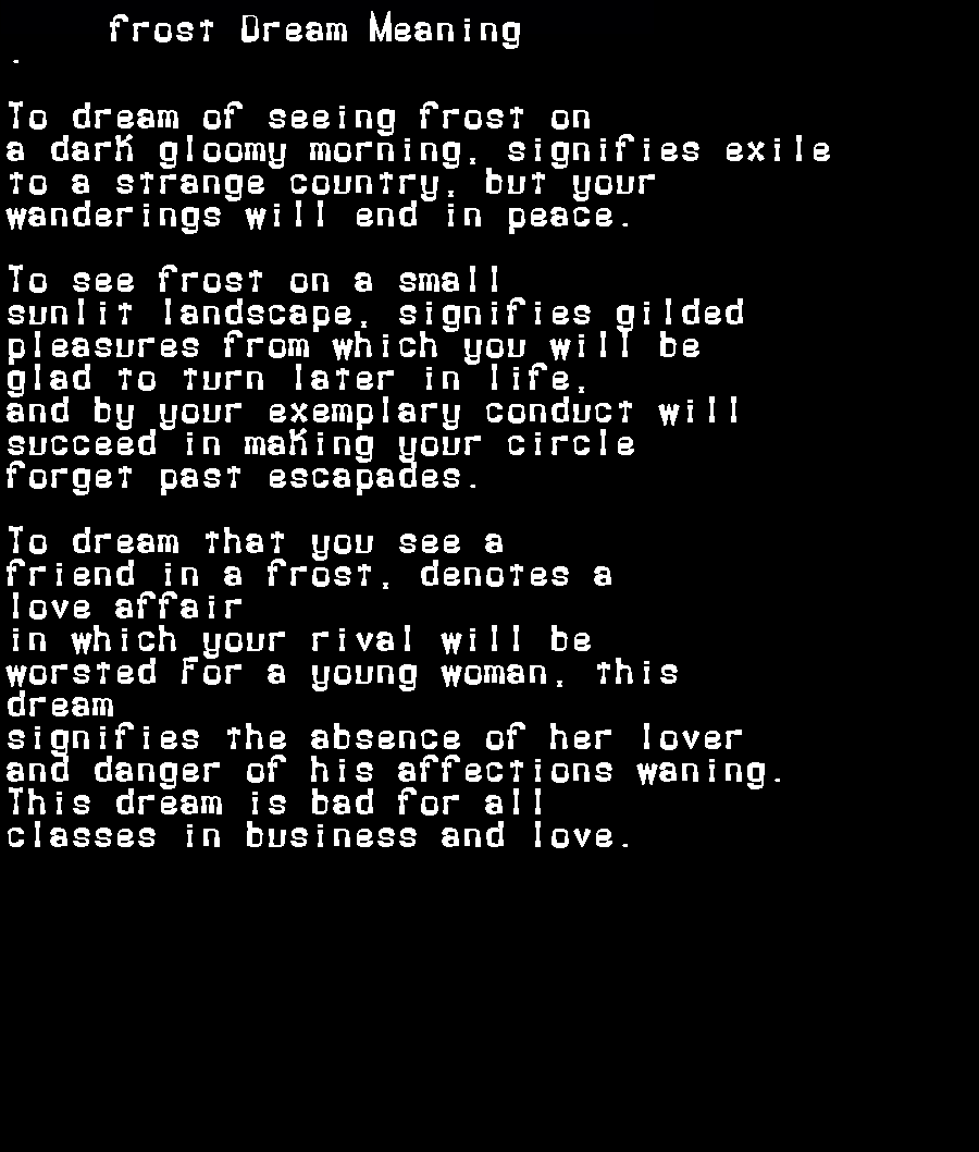 dream meanings frost