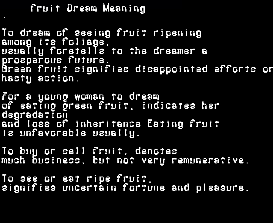 dream meanings fruit