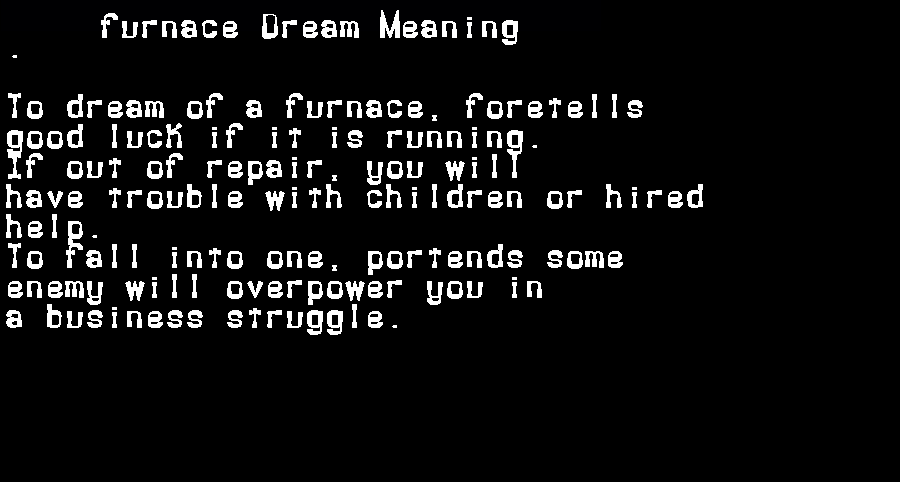 dream meanings furnace