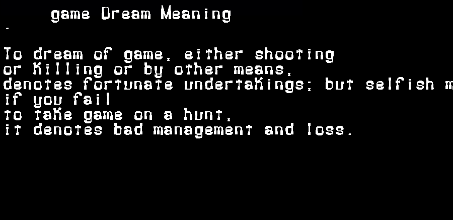 dream meanings game