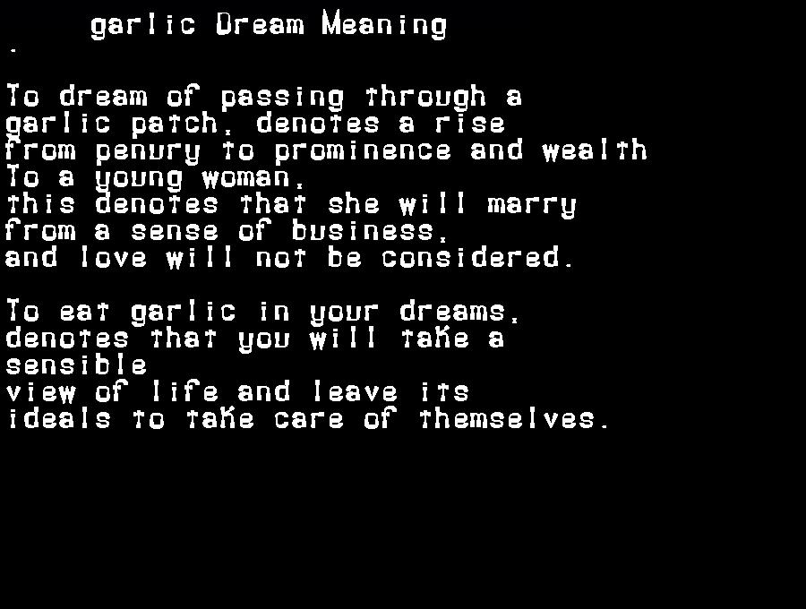 dream meanings garlic