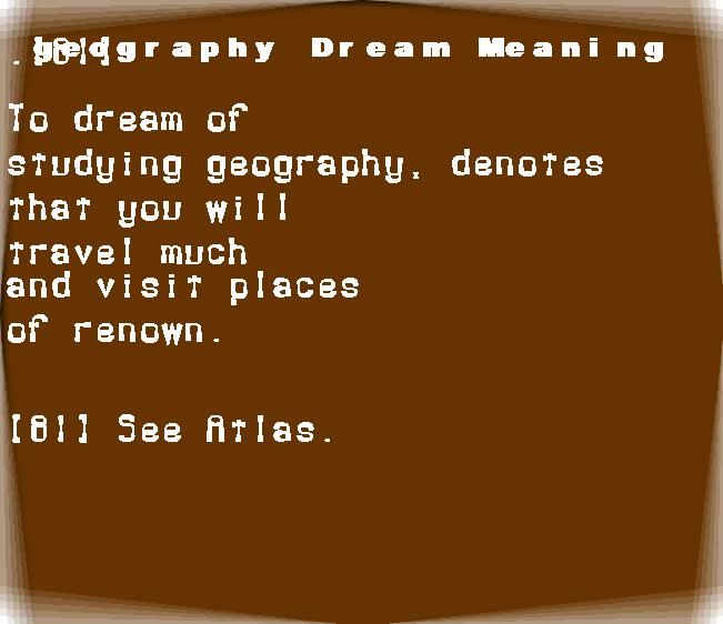 dream meanings geography