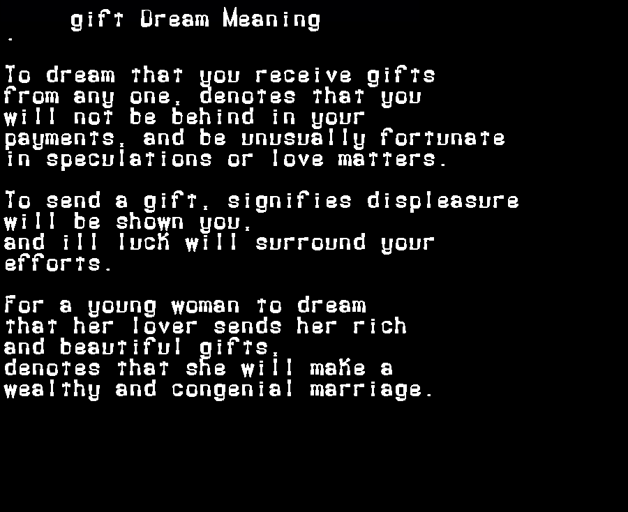 dream meanings gift