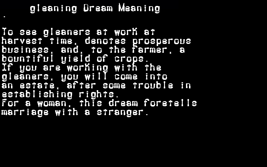 dream meanings gleaning