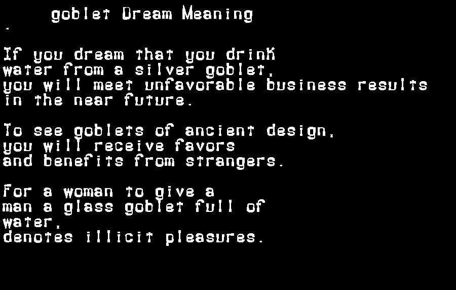 dream meanings goblet