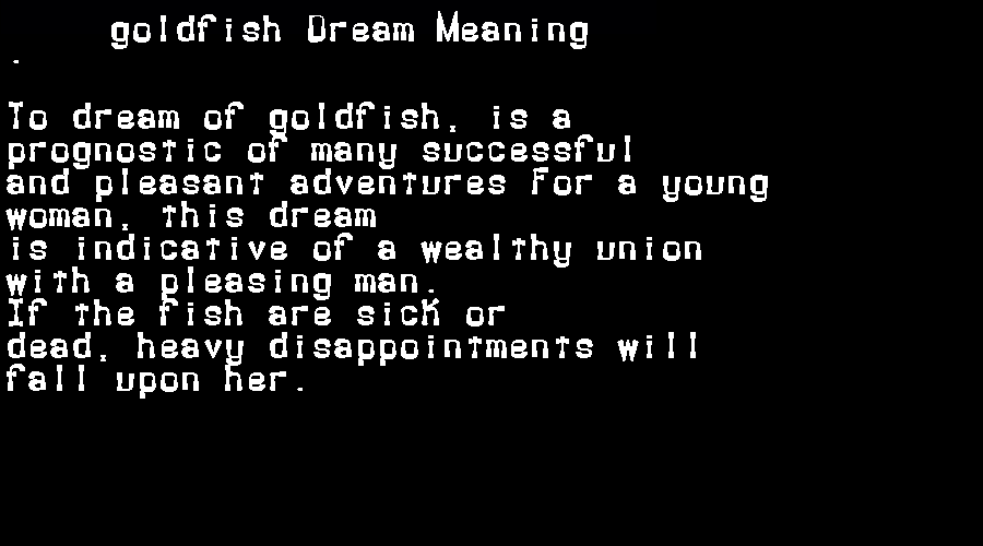 dream meanings goldfish