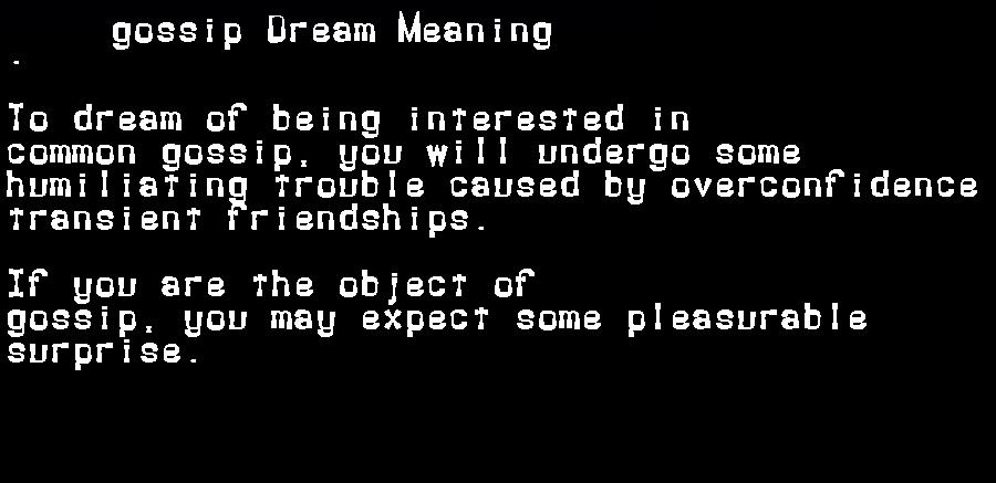 dream meanings gossip