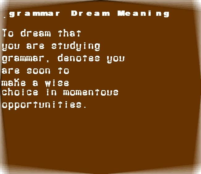 dream meanings grammar