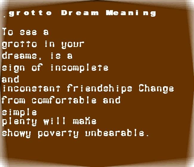 dream meanings grotto