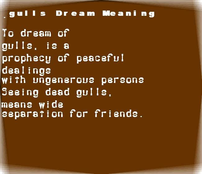 dream meanings gulls