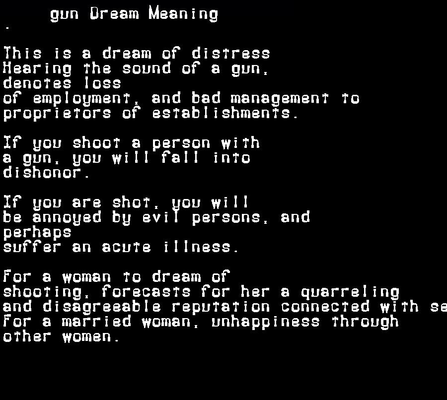 dream meanings gun