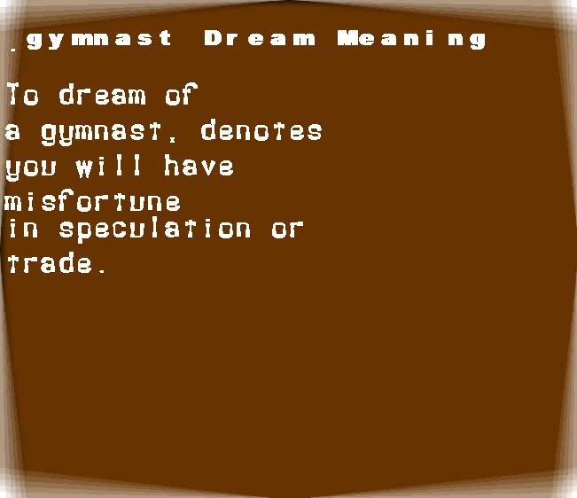 dream meanings gymnast