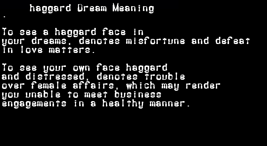 dream meanings haggard