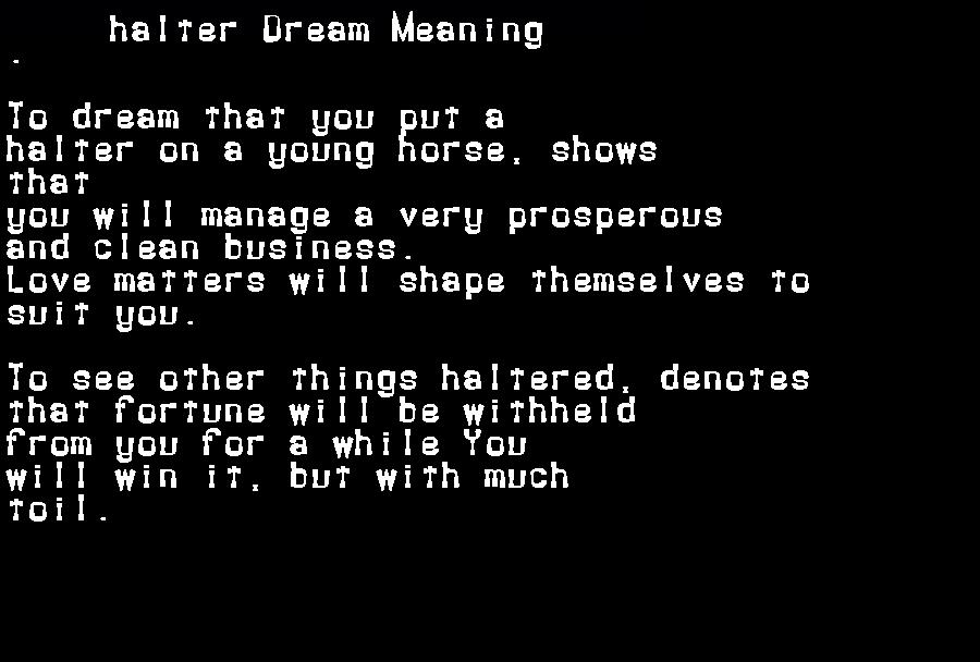 dream meanings halter