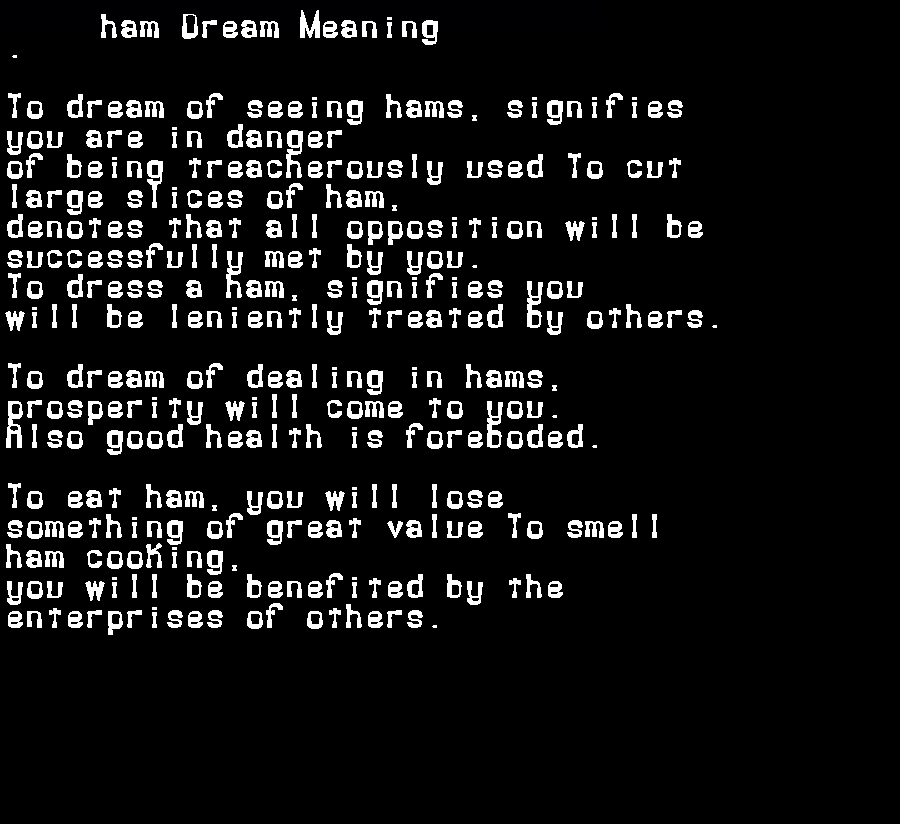 dream meanings ham