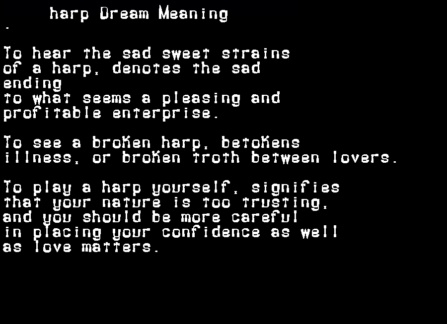 dream meanings harp