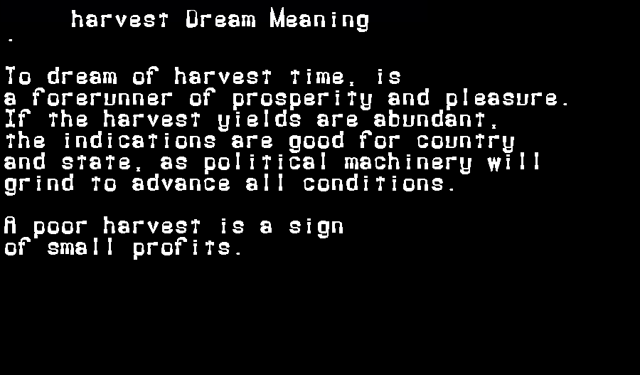 dream meanings harvest