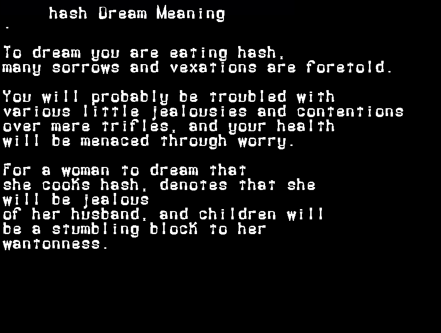 dream meanings hash