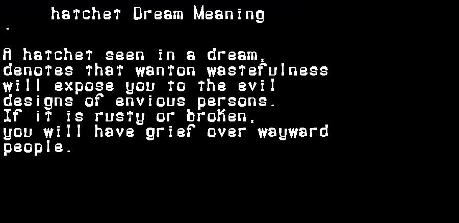 dream meanings hatchet