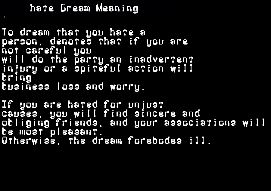 dream meanings hate