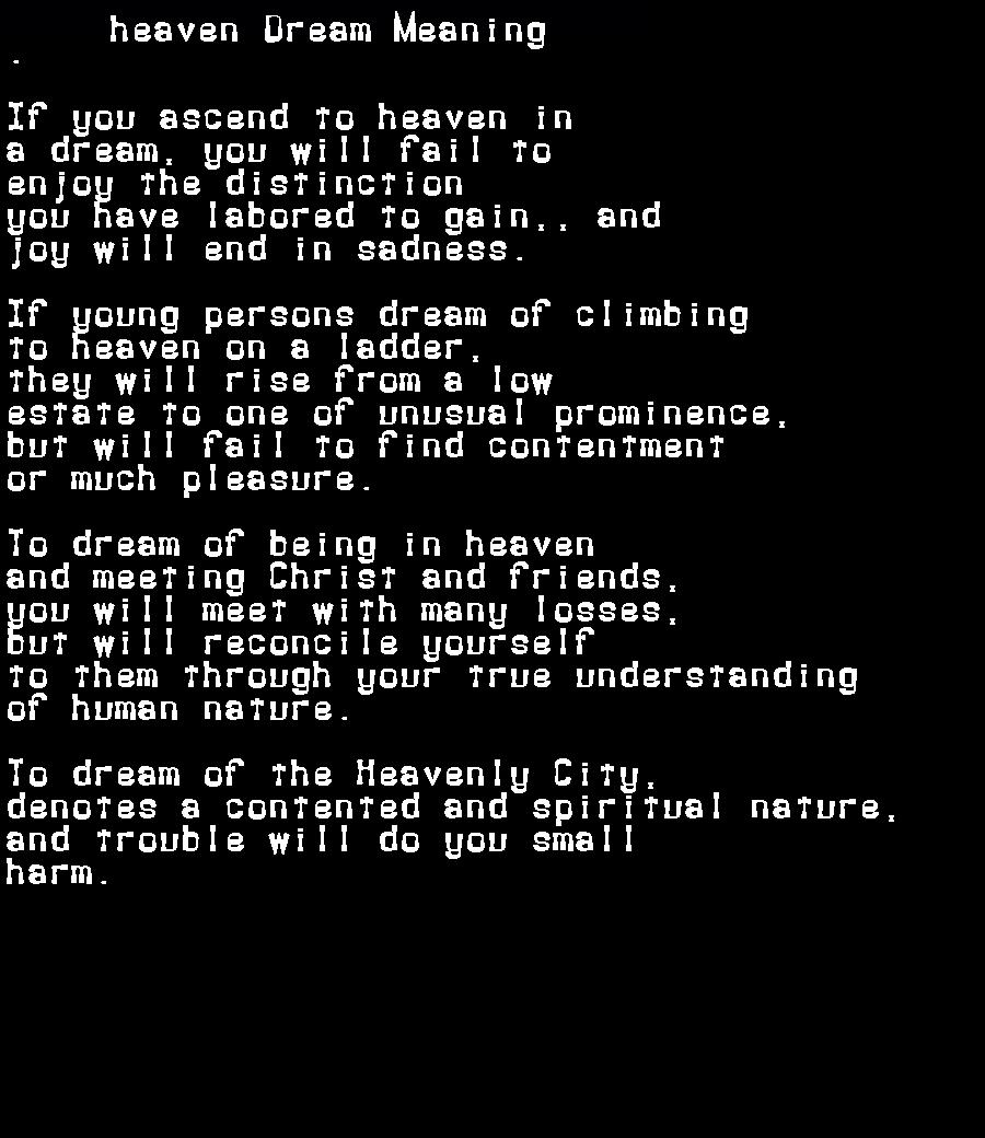 dream meanings heaven