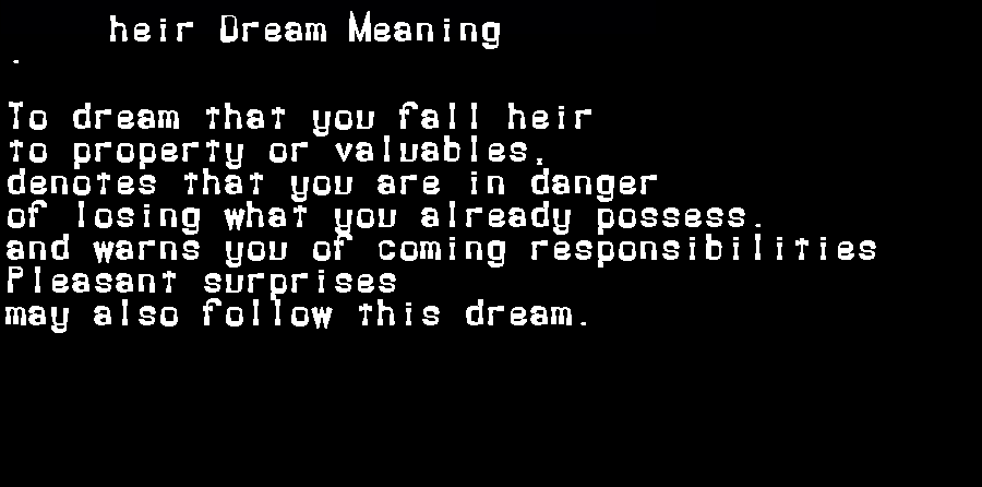 dream meanings heir