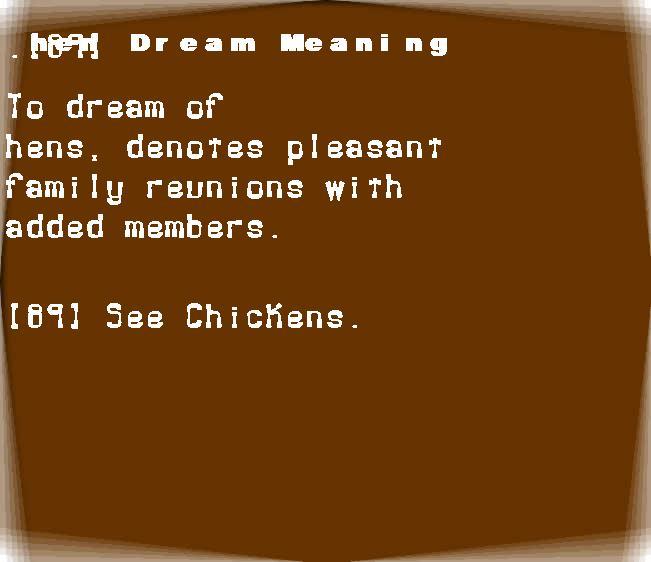 dream meanings hen