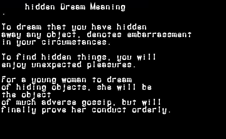 dream meanings hidden