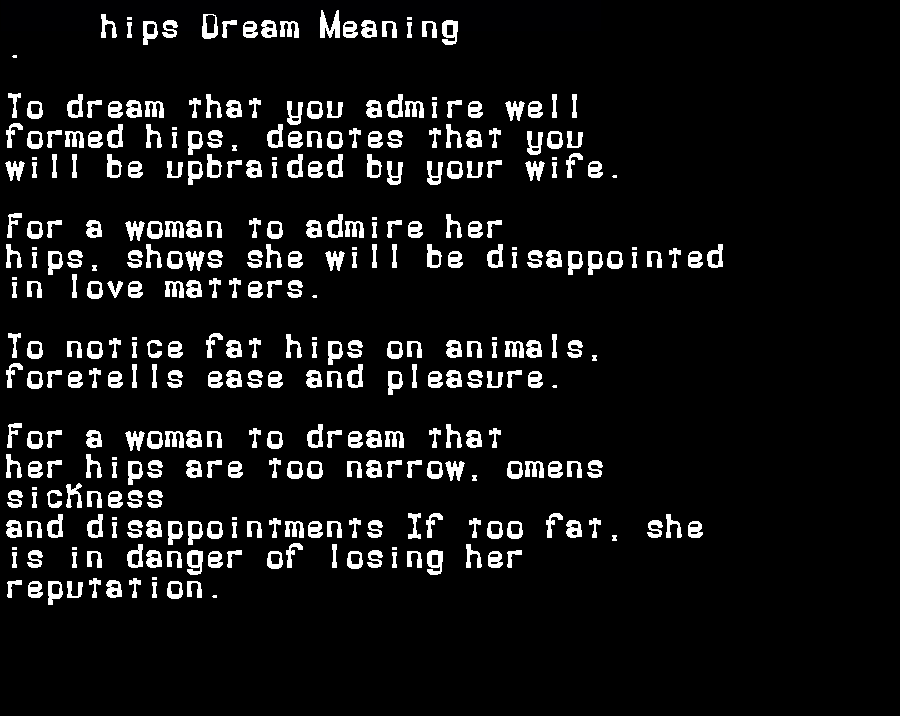 dream meanings hips