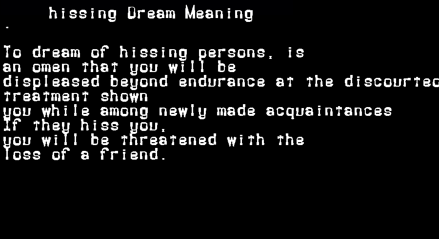 dream meanings hissing
