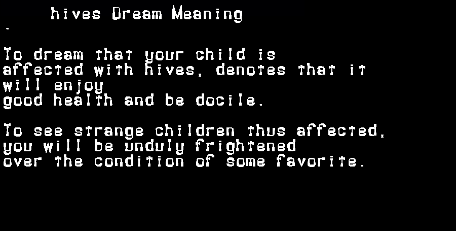 dream meanings hives