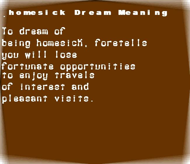 dream meanings homesick