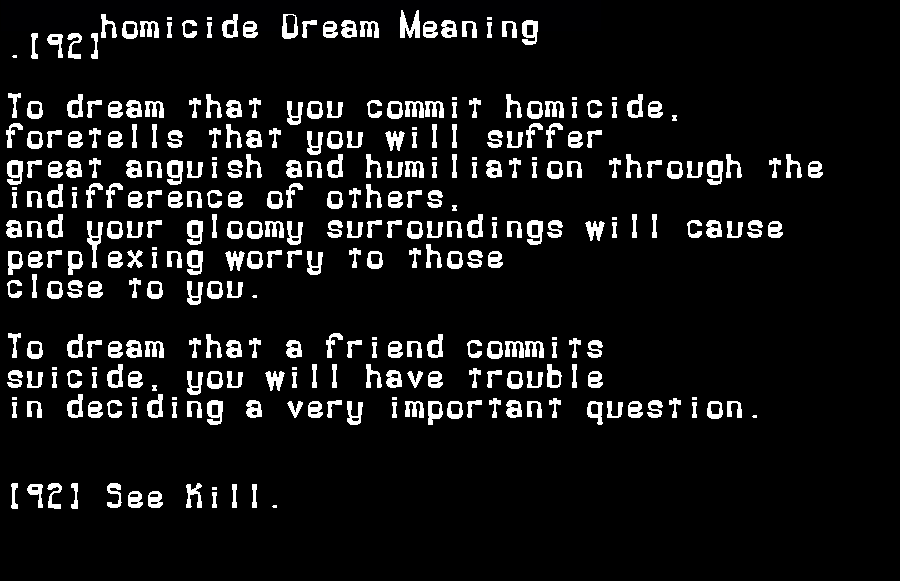 dream meanings homicide