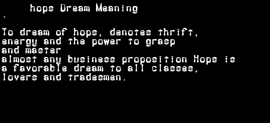 dream meanings hops