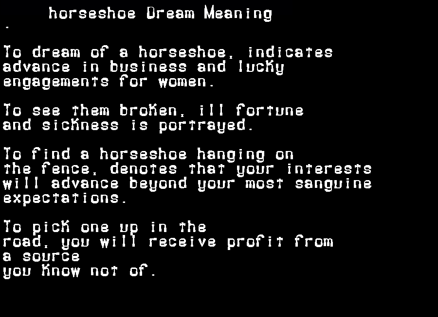 dream meanings horseshoe