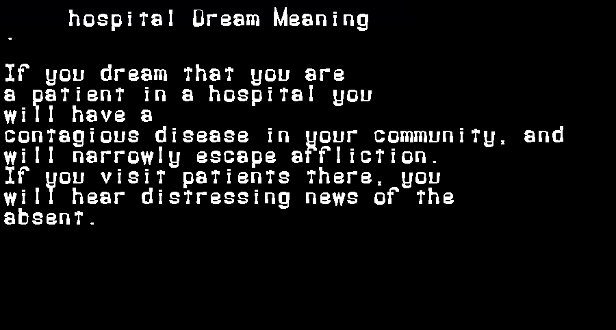 dream meanings hospital