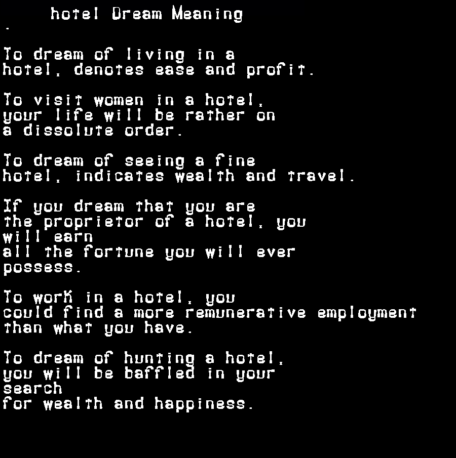 dream meanings hotel
