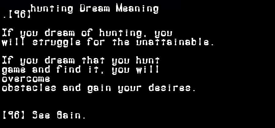 dream meanings hunting