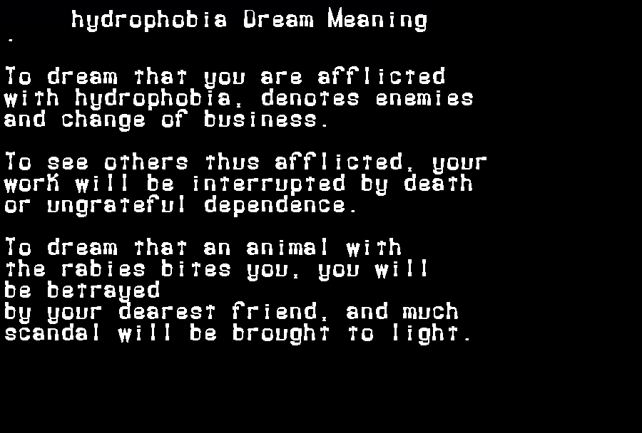 dream meanings hydrophobia