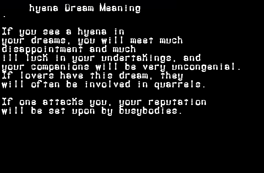 dream meanings hyena