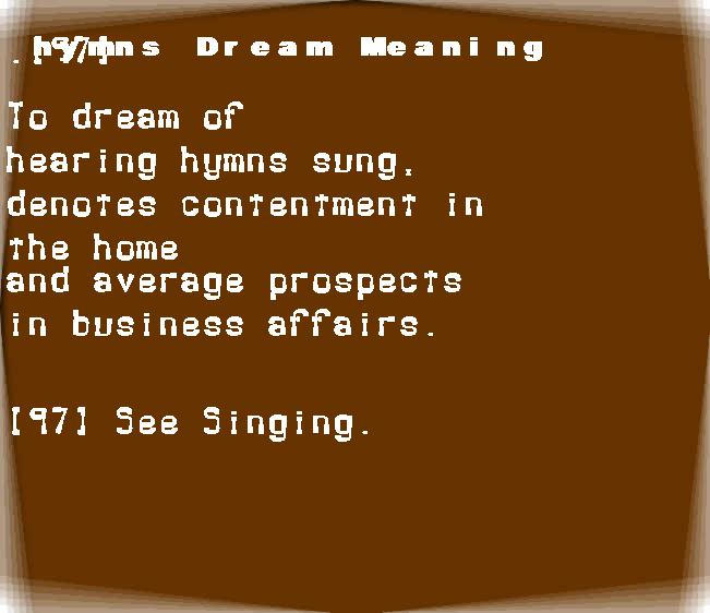 dream meanings hymns