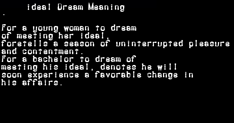 dream meanings ideal