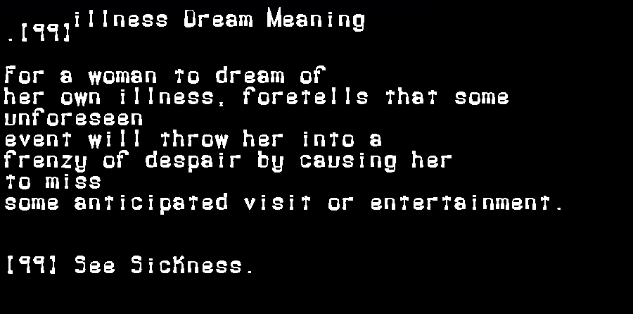 dream meanings illness