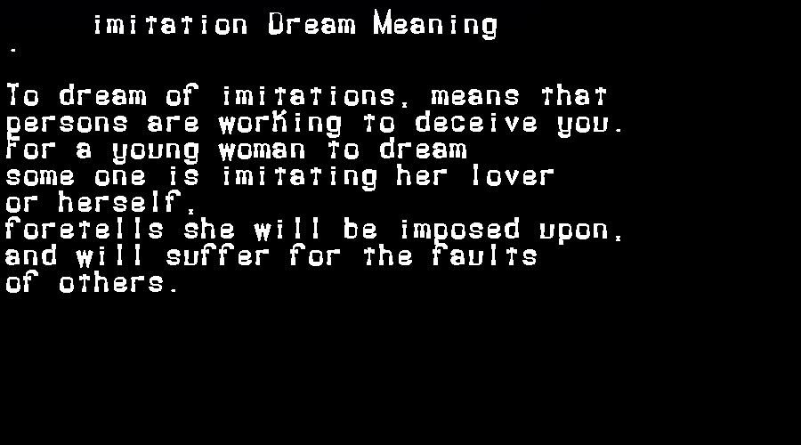 dream meanings imitation