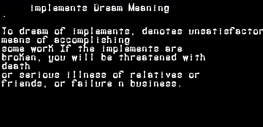 dream meanings implements