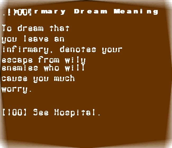dream meanings infirmary