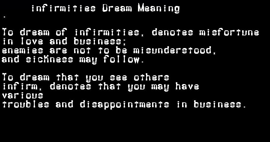dream meanings infirmities
