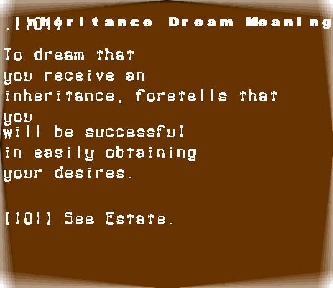 dream meanings inheritance